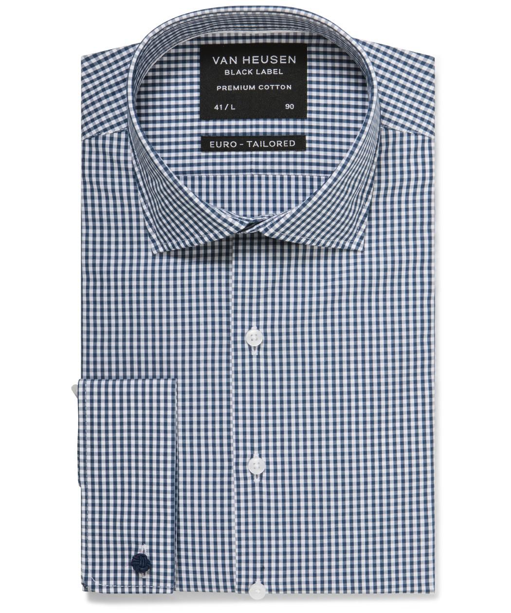 8845d42b08 Van Heusen. Black Label Euro Tailored Fit Shirt Navy Gingham