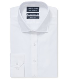 Euro Tailored Fit Shirt White Solid Blocked