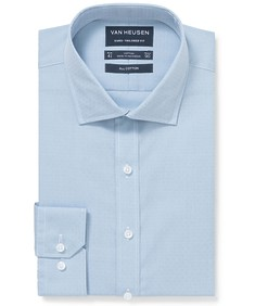 Euro Tailored Fit Shirt Blue Dobby Texture