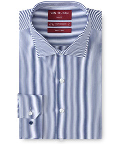 Slim Fit Shirt Navy Poplin Vertical Stripe