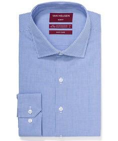 Slim Fit Shirt Blue Houndstooth Print
