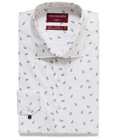 Slim Fit Shirt White with Navy Paisley Print
