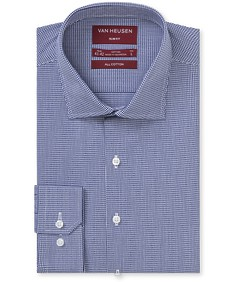 Slim Fit Shirt Navy Small Dobby Check