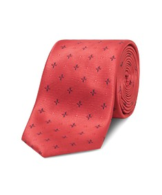 Neck Tie Red with Blue Flowers