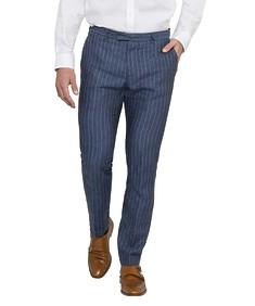 Black Label Super Slim Suit Pant Ink Linen Stripe