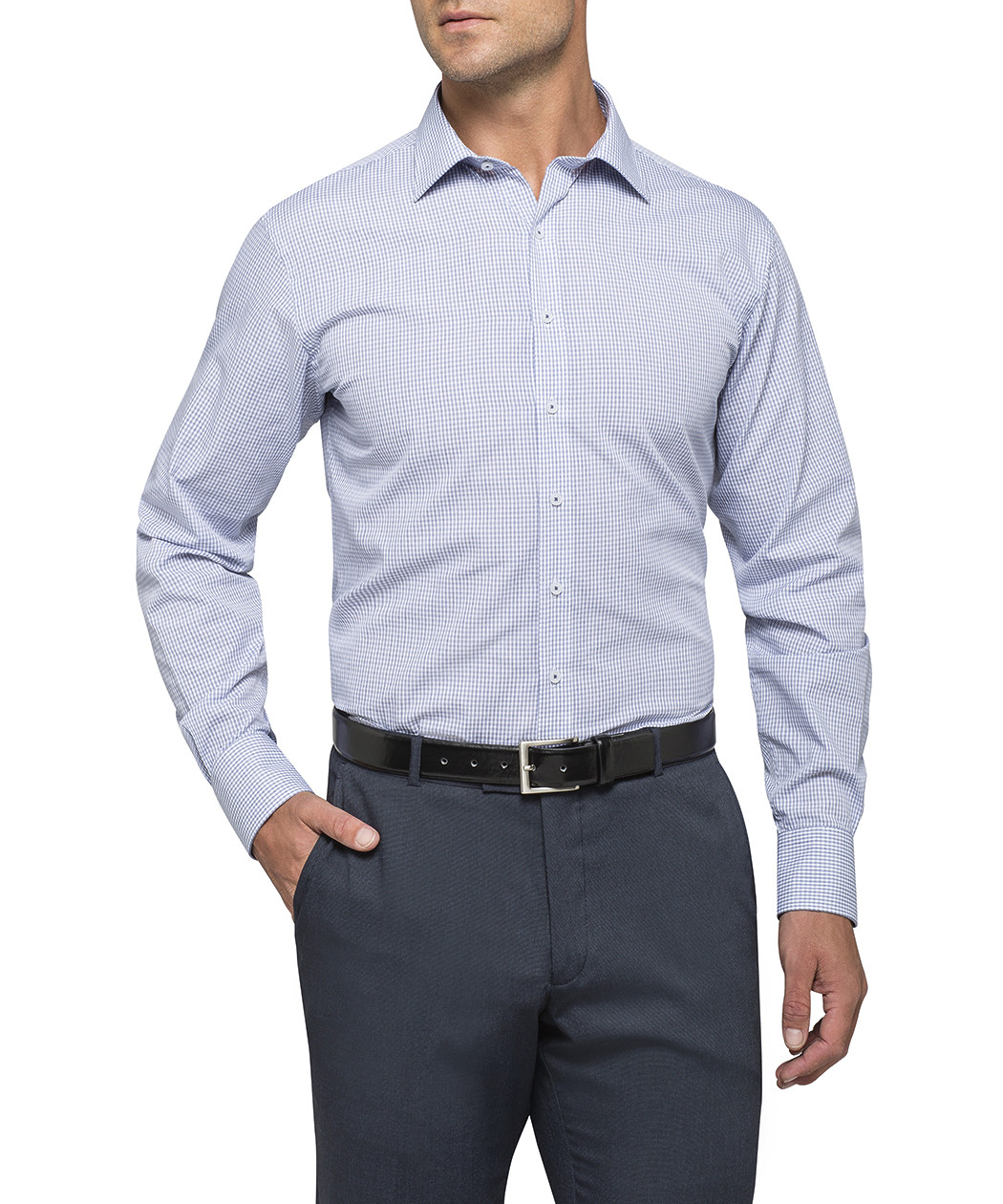 euro tailored fit shirt blue check van heusen business
