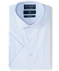 Euro Tailored Fit Short Sleeve Shirt Blue Dot