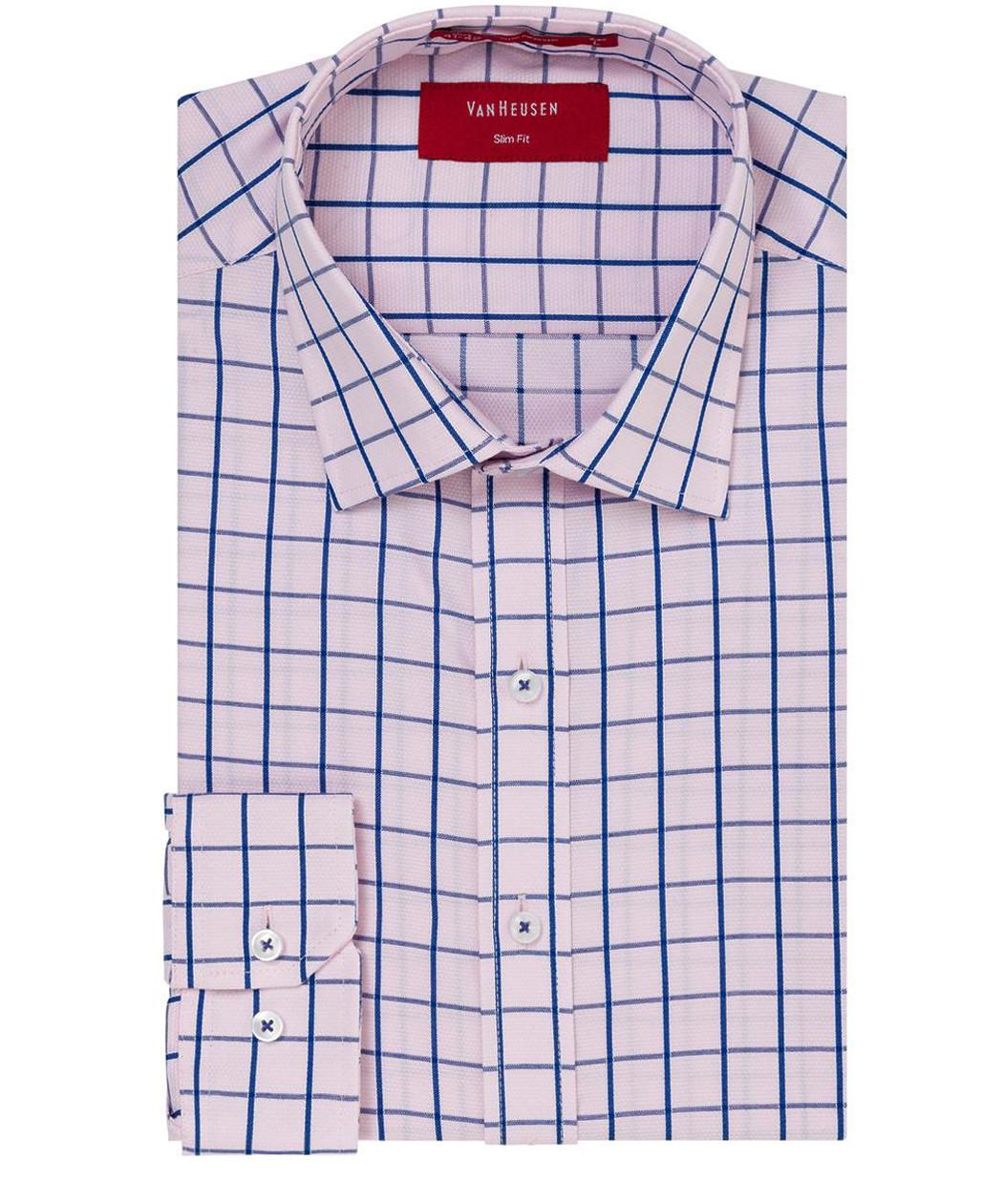 f2af458b7c Van Heusen Slim Fit Shirt Pink Blue Large Check   Mens Business Shirts