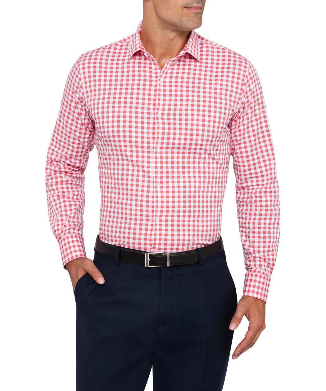 Van Heusen Slim Fit White and Red Check Shirt | Van Heusen Men's ...