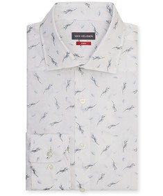 Slim Fit Shirt White with Sage Print