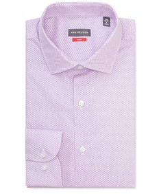 Slim Fit Shirt Purple Diagonal Line Print