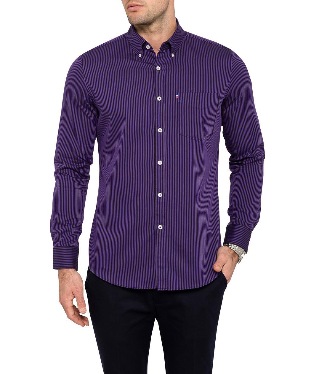 Van heusen mens casual shirt purple stripe van heusen for Men s dress shirt accessories