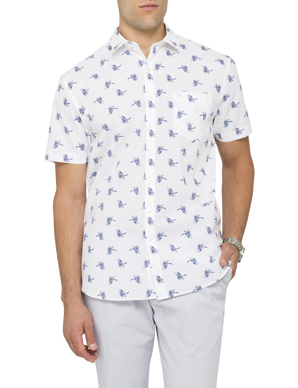 Van heusen mens casual short sleeve shirt bird print for Printed short sleeve shirts