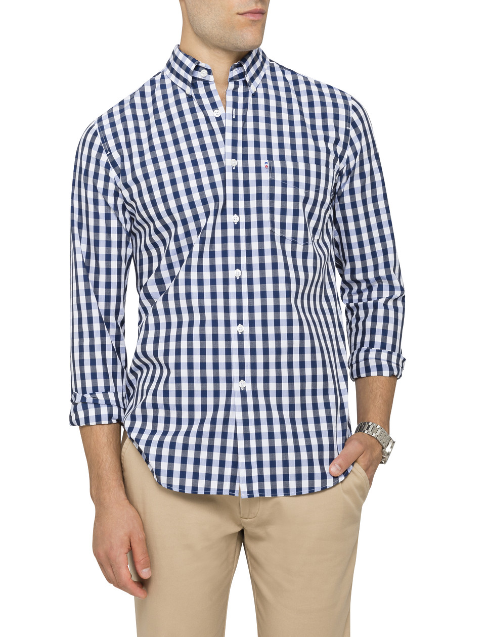 Mens casual shirt navy blue check van heusen casual for Navy blue shirt online
