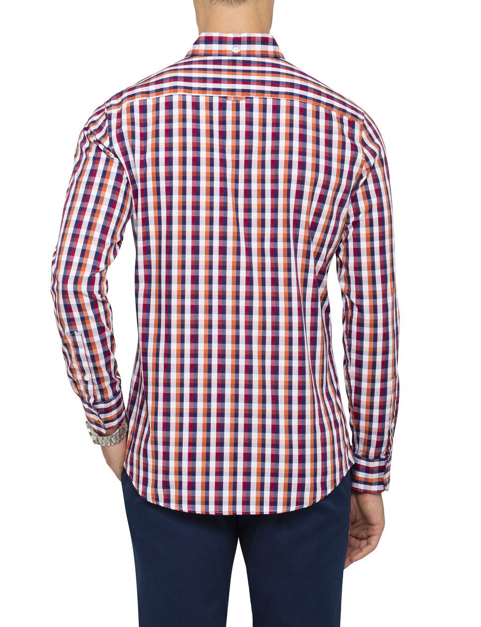 Van Heusen Mens Casual Shirt Red Orange Check Mens