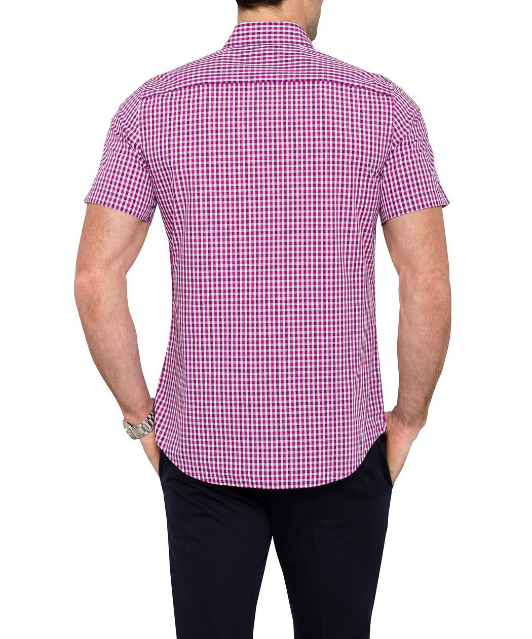 van heusen casual short sleeve purple shirt casual