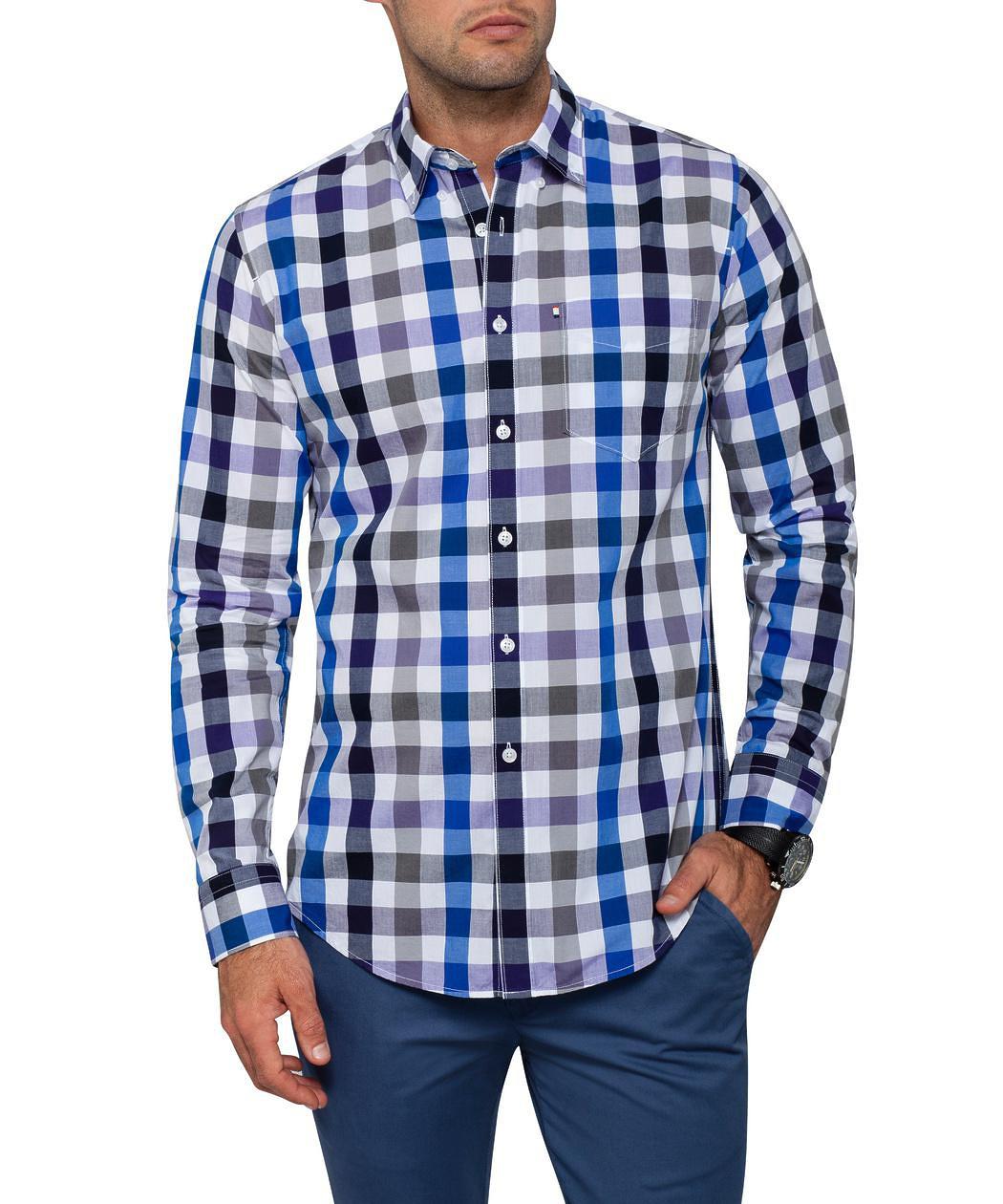 Van heusen casual white blue black check shirt mens for Black and white check mens shirt