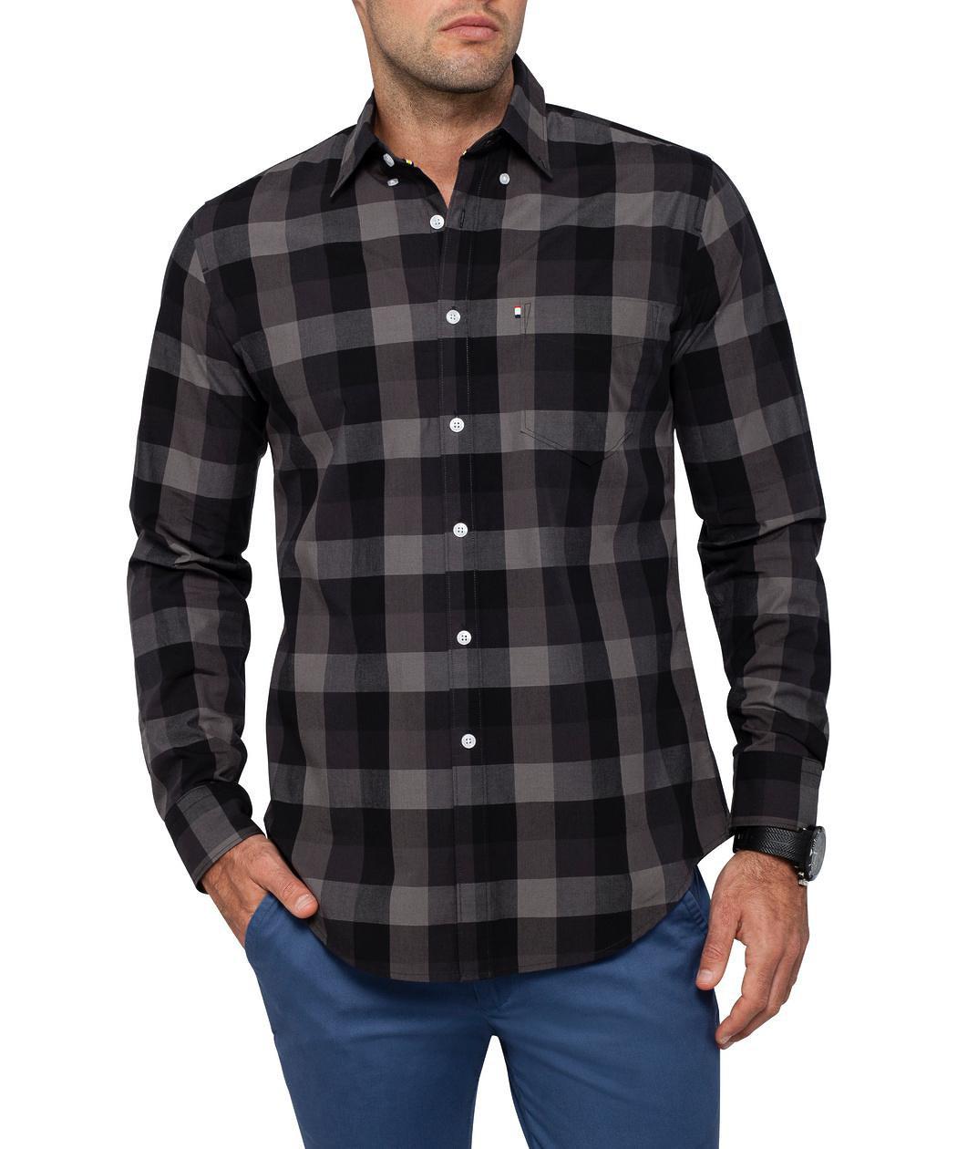 Van heusen casual black check shirt mens shirt van for Black and white check mens shirt