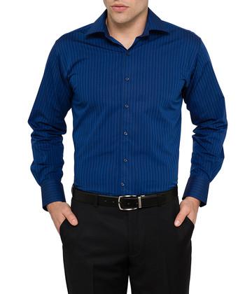 Van heusen studio dark navy multi stripe euro fit shirt for Van heusen dress shirts