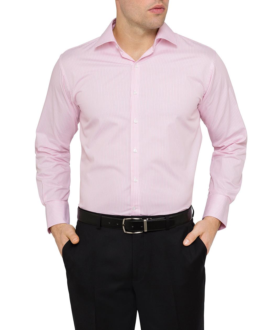 Van heusen pink white striped euro fit shirt van for Van heusen dress shirts
