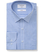 Classic Relaxed Fit Shirt Blue and White Window Check