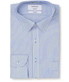 Classic  Relaxed Fit Shirt Blue Vertical Stripe