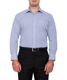 Mens Classic Fit Shirt Navy Check