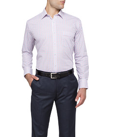 Mens Classic Fit Shirt Red and Navy Window Pane Check