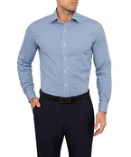 Mens Slim Fit Shirt Blue Mini Houndstooth