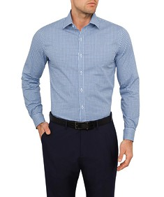 Mens Slim Fit Shirt Navy Black Check