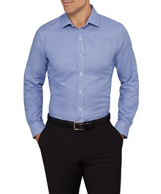 Mens Slim Fit Shirt Navy Mini Check