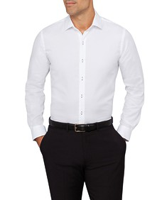 Mens Slim Fit Shirt Solid with Contrast Button Hole