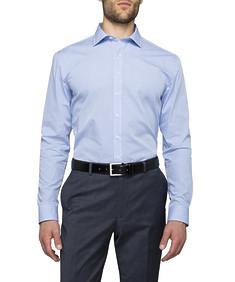 Mens Slim Fit Shirt Blue Mini Check