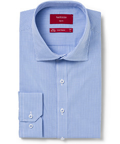 Mens Slim Fit Shirt Blue Mini Check