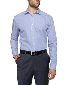 Mens Slim Fit Shirt Blue and White Stripe