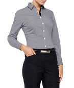 Womens Bust Fit Blouse Long Sleeve Charcoal Check