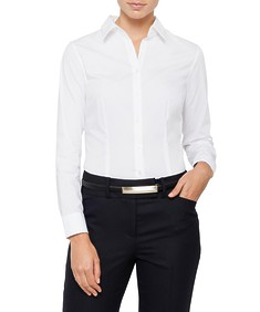 Womens Classic Fit Shirt Cotton Stretch Poplin