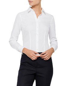 Womens Bust Fit Blouse Long Sleeve White
