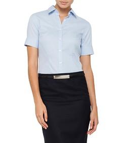 Womens Blouse Short Sleeve Blue Self Stripe