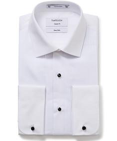 Men's Classic Fit Tuxedo Shirt with Semi Spread Collar