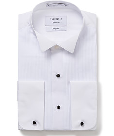 Classic Relaxed Fit Tuxedo Shirt with Wing Collar