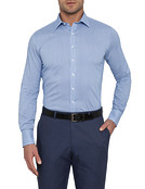 Mens Euro Fit Shirt Blue Fine Stripe