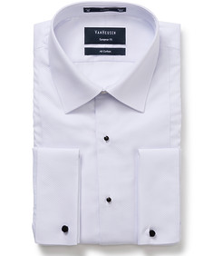 Euro Tailored Fit Tuxedo Shirt with Semi Spread Collar