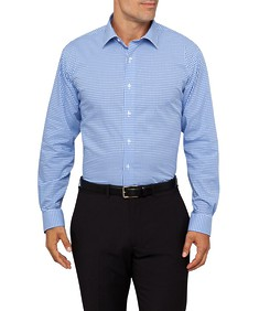 Mens Euro Fit Shirt Blue Med Check