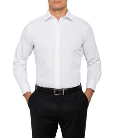 Mens Euro Fit Shirt Solid White French Cuff