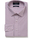Mens Euro Fit Shirt Red Small Check