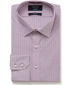 Euro Tailored Fit Shirt Red Small Check