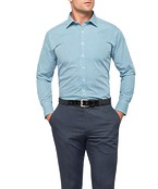 Mens Euro Fit Shirt Green and Blue Mini Check