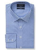 Euro Tailored Fit Shirt Navy Tonal Gingham