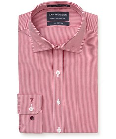 Euro Tailored Fit Shirt Red Vertical Stripes
